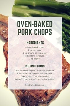 A quick and easy recipe for delicious oven baked bone-in pork chops with a simple yet flavorsome seasoning. A quick and easy recipe for delicious oven baked bone-in pork chops with a simple yet flavorsome seasoning. Baked Bone In Pork Chops Recipe, Healthy Pork Chops, Oven Pork Chops, Easy Baked Pork Chops, Quick Pork Chop Recipes, Pork Recipes, Quick Easy Meals, Recipies, Bone In Porkchop Recipes