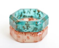 Teal Resin Bangle Chunky Faceted Bracelet Gold Flakes by daimblond