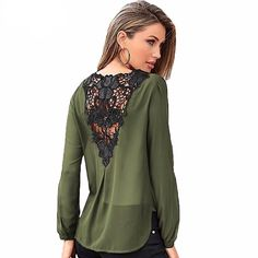Lace V-Neck Long Sleeve Blouse Chiffon Blouses