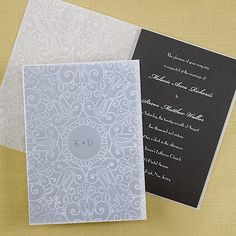 Embossed Sheer Invitation - Black Shimmer - Wedding Invitations - Wedding Invites - Wedding Invitation Ideas - View a Proof Online - #weddings #wedding #invitations