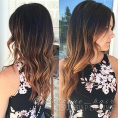 Long dark hair turn to BRONDE  with #coiffance color . De long cheveux très…