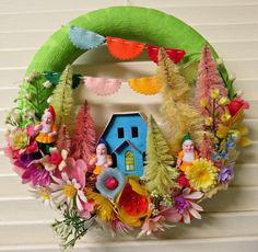 Vintage Gnome Garden Party Springtime Wreath by dimestorechic