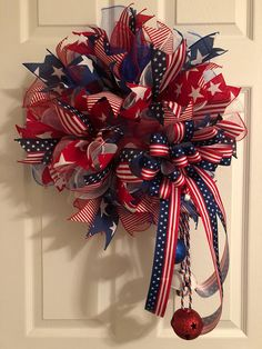 This wreath pops with red white and blue color. Show your patriotic pride on the Fourth of July, Memorial Day, Veterans Day, Presidents Day, Labor Day or anytime of the year. I used red white and blue premium deco mesh to make this wreath. And accented throughout with Stars and Stripes