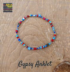 A fun and colorful anklet for summer. Beaded Anklets, Beaded Bracelets, Simple Bracelets, Slip Over, Anklet Bracelet, Bead Shop, Heart For Kids, Hippie Gypsy, Different Patterns