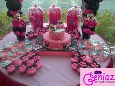 Minnie Mouse fondant cake, cupcakes and more
