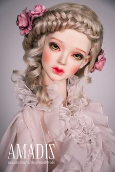 French vintage (natural angora wig for bjd SD, MSD, Tiny)