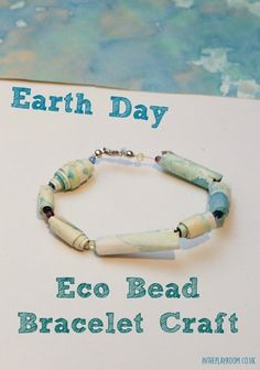 Earth Day Eco Bead Bracelet Craft - In The Playroom - Earth day eco bead bracelet craft made from recycled kids art Earth day eco bead bracelet craft mad - Earth Day Activities, Art Activities For Kids, Therapy Activities, Art For Kids, Activity Ideas, Earth Day Pictures, Earth Day Images, Earth Day Quotes, Earth Day Posters