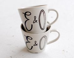 custom couple caricature and initials tea cups - black and white hand drawn portraits pair - set of two (2). $50.00, via Etsy.
