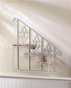 White Stair Steps Wall Shelf