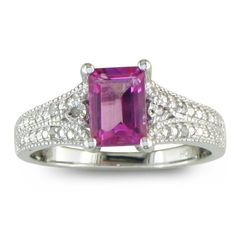Sterling Silver Pink Topaz and Diamond Ring (1 1/2 cttw)  