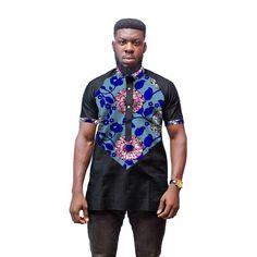 Fashion Man's Dress African Men T-Shirt Africa Festive Pattern Short Sleeve TShirt Customized Africa Print And Black Tops African Attire For Men, African Men, Man Dressing Style, Africa Fashion, Africa Style, Patterned Shorts, Black Tops, Shirt Style, Men Dress