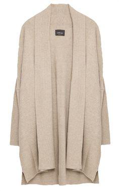 Cardigan long col châle beige, Zara
