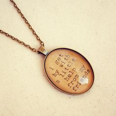 """Beatles Quote Necklace with """"I get by with a Little Help from my Friends"""" Glass Pendant by Dear Delilah"""