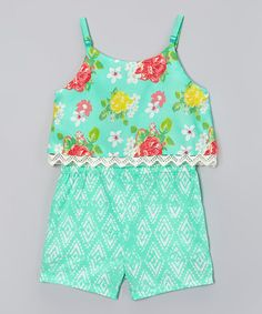 Look at this Mint Floral Romper - Infant, Toddler & Girls on #zulily today!