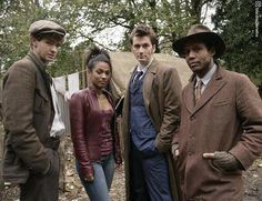 The Hooverville Gang!  #BehindTheScenes of series 3's Daleks in Manhattan!  #ThrowbackThursday  #DoctorWho #whovian #David Tennant #FreemaAgyeman #AndrewGarfield
