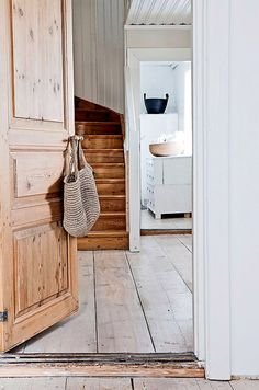 "natural wood + pale floor + beadboard (""my scandinavian home: A beautifully renovated Swedish farmhouse"") Swedish Interior Design, Swedish Interiors, Swedish Farmhouse, Swedish House, Rustic Farmhouse, Farmhouse Interior, Farmhouse Style, Restored Farmhouse, Swedish Cottage"