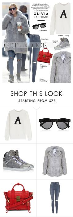 """""""Get The Look: Olivia's Winter Style"""" by junglover ❤ liked on Polyvore featuring AG Adriano Goldschmied, Illesteva, Hogan Rebel, Miss Selfridge, 3.1 Phillip Lim, Topshop, women's clothing, women's fashion, women and female"""