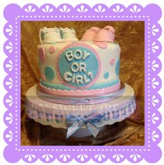 GENDER REVEAL CAKE!!! www.sweettreatusa.com