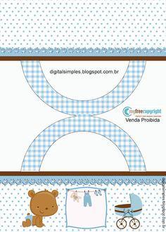 """Kit Artes Digitais """"Ursinho Azul e Marrom"""" para Imprimir - Convites Digitais Simples"""