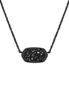 The best-selling Elisa Necklace by Kendra Scott takes an edgy turn with black drusy. Lobster Claw Closure. Rhodium Gunmetal Plated Brass.