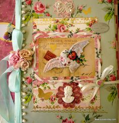 White Dove Cameo Large Journal with Extra Ephemera Scrapbook