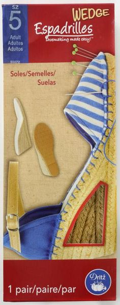 Adult Espadrille Soles - Dritz® Espadrilles is a collection of DIY shoemaking products for crafting easy-sew espadrilles for adults, kids and toddlers; the Dritz® Espadrilles wedge jute soles are available in adult sizes only. Use these size 5 adult jute soles to craft a unique pair of espadrille wedges.
