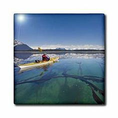 """Alaska, Glacier Bay NP, Sea kayaker in Beardsley Island - US02 GLU0058 - Gary Luhm - 12 Inch Ceramic Tile by 3dRose. $22.99. Dimensions: 12"""" H x 12"""" W x 1/4"""" D. Image applied to the top surface. High gloss finish. Construction grade. Floor installation not recommended.. Clean with mild detergent. Alaska, Glacier Bay NP, Sea kayaker in Beardsley Island - US02 GLU0058 - Gary Luhm Tile is great for a backsplash, countertop or as an accent. This commercial quality ..."""