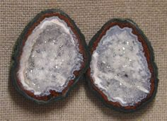 Tabasco Geode 1 Pair Cut and Polished Great for Jewelry 00688