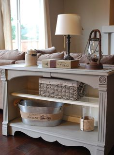 Annie Sloan Chalk Paint French Linen and Old white painted sofa table/buffet: