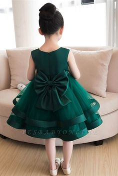 Magbridal Sweet Tulle & Satin Jewel Neckline Ball Gown Flower Girl Dresses With Handmade Flowers & Bowknot Baby Girl Party Dresses, Baby Girl Frocks, Frocks For Girls, Little Girl Dresses, Dress Party, Gowns For Girls, Party Dresses For Kids, Satin Flower Girl Dresses, Girls Dresses Sewing