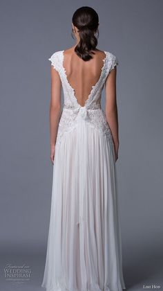 lihi hod 2017 bridal cap sleeves v neck heavily embellished bodice pleated skirt elegant modified a line wedding dress low back sweep train (aline) bv -- Lihi Hod 2017 Wedding Dresses