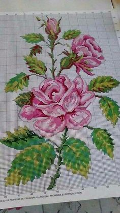Cross Stitch Rose, Cross Stitch Borders, Cross Stitch Flowers, Cross Stitching, Cross Stitch Embroidery, Cross Stitch Patterns, Embroidery Hoop Crafts, Embroidery Fashion, Embroidery Patterns