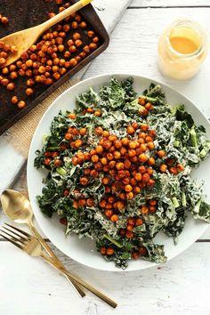 Garlicky Kale Salad with Crispy Chickpeas