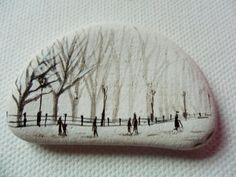 Snow in Central park new York - Acrylic miniature painting on English sea pottery sea glass