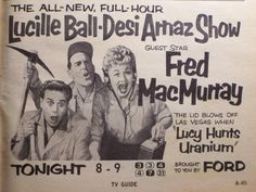 "Ad for the first 1/2 hour Lucille Ball-Desi Arnaz Show which ran after ""I Love Lucy"" aired its final episode."