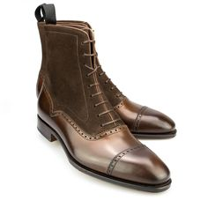 Balmoral boots 80450 in brown suede and brown vegano - Carmina Shoemaker