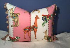 """Jane Churchill """"Pink Carousel"""" Scalamandre Silk R Allen Trim Pillow   eBay"""