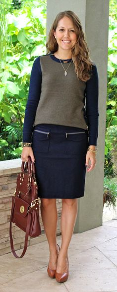 Navy and tan zippers