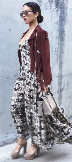 L'Agence Maxi Dress (similar here and here) All Saints Suede Moto Jacket Fendi By The Way Bag Dior Reflected Sunglasses