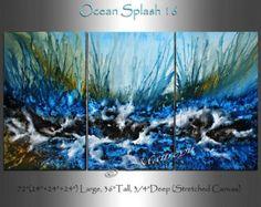 Mar arte turquesa turquesa playa gran abstracto por largeartwork