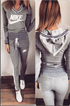 Light gray V neck classy sport set - April 20 2019 at Sporty Outfits, Nike Outfits, Stylish Outfits, Fashion Outfits, Fashion Vest, Stylish Clothes, Black Women Fashion, Womens Fashion, Fashion Fall