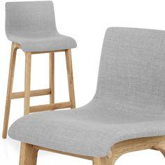 Drift Oak & Light Grey Fabric Stool