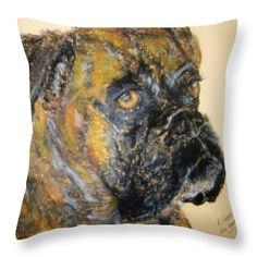 Boxer Dog: A pastel drawing of a boxer dog by Kelly Goss Art printed on to throw pillows in 100% polyester or 100% cotton fabric. Perfect to brighten up and decorate your home lounge suite or bedroom. The special gift to spice up a friend's home decor, especially if they love pet or dog art.