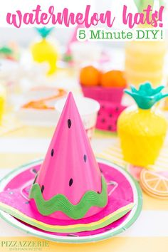 DIY Watermelon Party Hat! Twotti Fruity Themed!