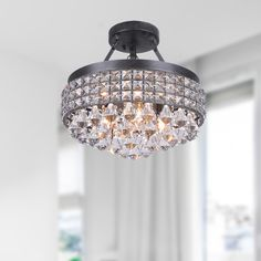 Antonia 4-light Crystal Semi-flush Mount Chandelier with Antique Bronze Iron Shade - Overstock™ Shopping - Big Discounts on Otis Designs Flush Mounts
