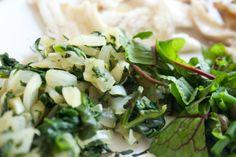 Hämmentäjä: Pinaattimuhennos tai nokkosmuhennos vaalealle kalalle. Spinach and nettlestew for white fish.