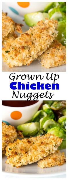 Homemade Chicken Nuggets - make a grown up version of a childhood favorite at home with these homemade chicken nuggets. Baked, perfectly crispy, and ready in minutes!