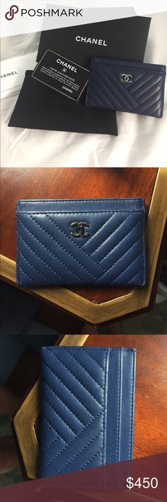 Chanel Classic Chevron Card Holder Chanel Classic Chevron Lambskin Leather Credit card Holder / Wallet in a gorgeous Navy color with Silver CC. Comes with box, pouch, authenticity card. Price is firm. No lowballs! Perfect condition. Literally only used once before I purchased another style one I use more! CHANEL Accessories