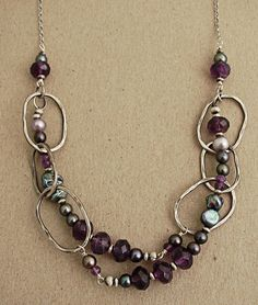 Hammered and oxidized sterling link necklace with amethyst, lilac pearl and peacock kashi pearls