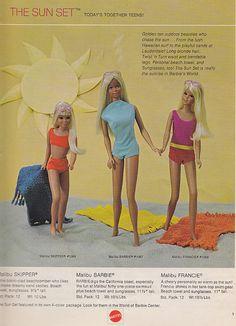 The Malibu Dolls:  Barbie, Francie and Skipper